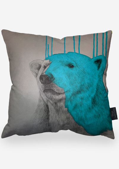 Hey Polar Bear - Aqua Pillow